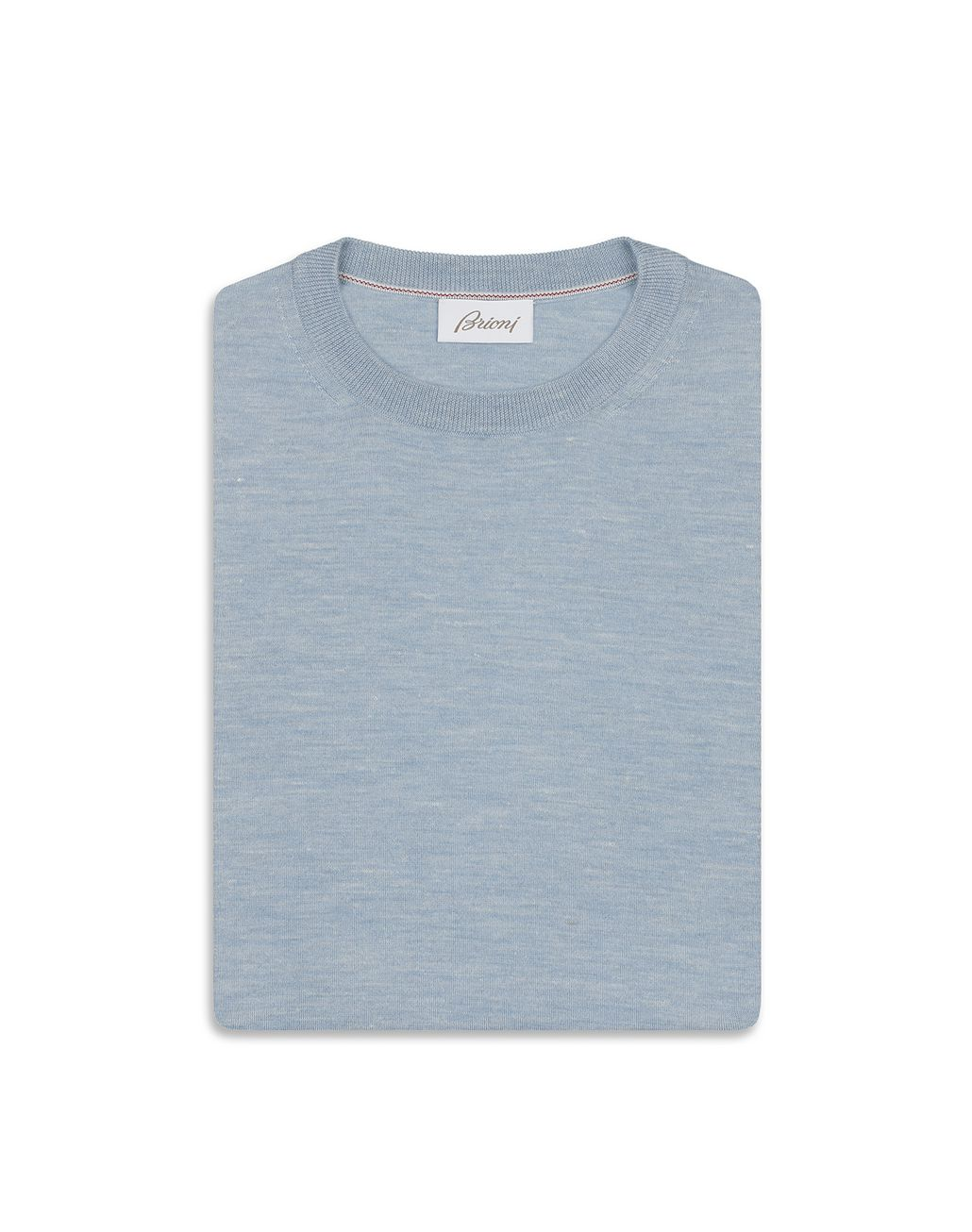 BRIONI Light Blue Crew Neck Sweater Knitwear Man e