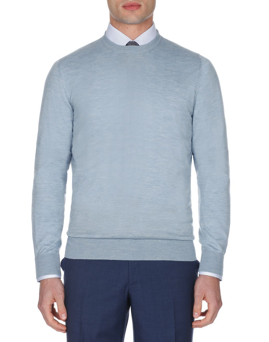 BRIONI Light Blue Crew Neck Sweater Knitwear Man r