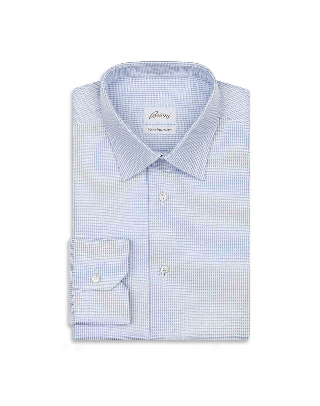 BRIONI Light Blue and White Micro Designed Shirt Formal shirt Man f