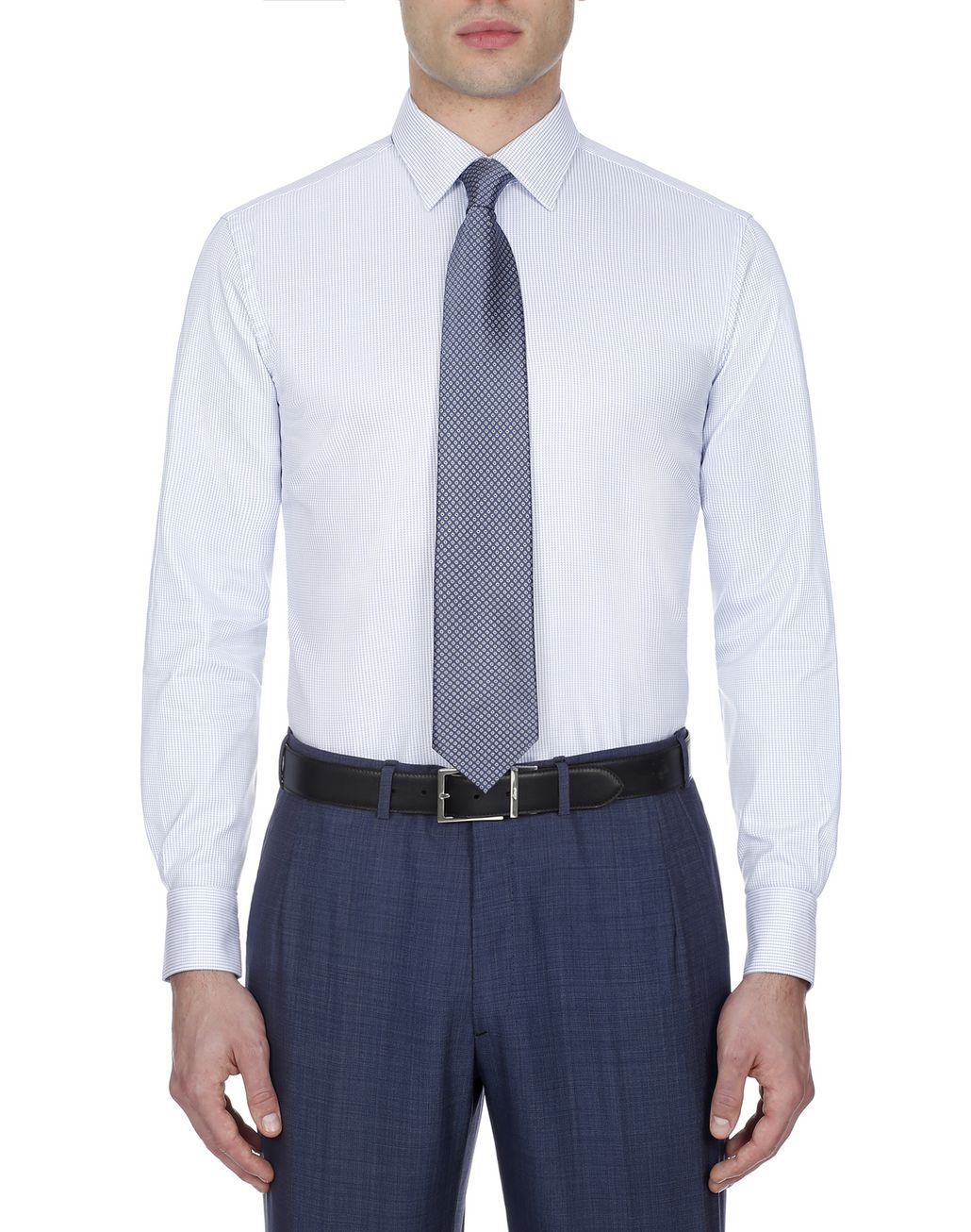 BRIONI Light Blue and White Micro Designed Shirt Formal shirt Man r
