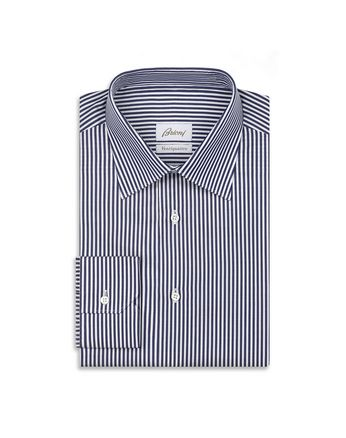 Navy Blue and White Striped Formal Shirt