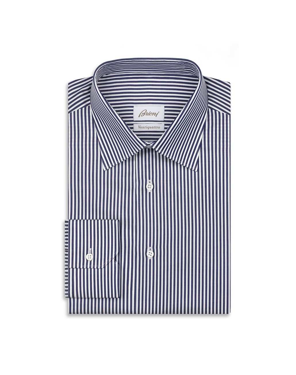 BRIONI Navy Blue and White Striped Formal Shirt Formal shirt Man f