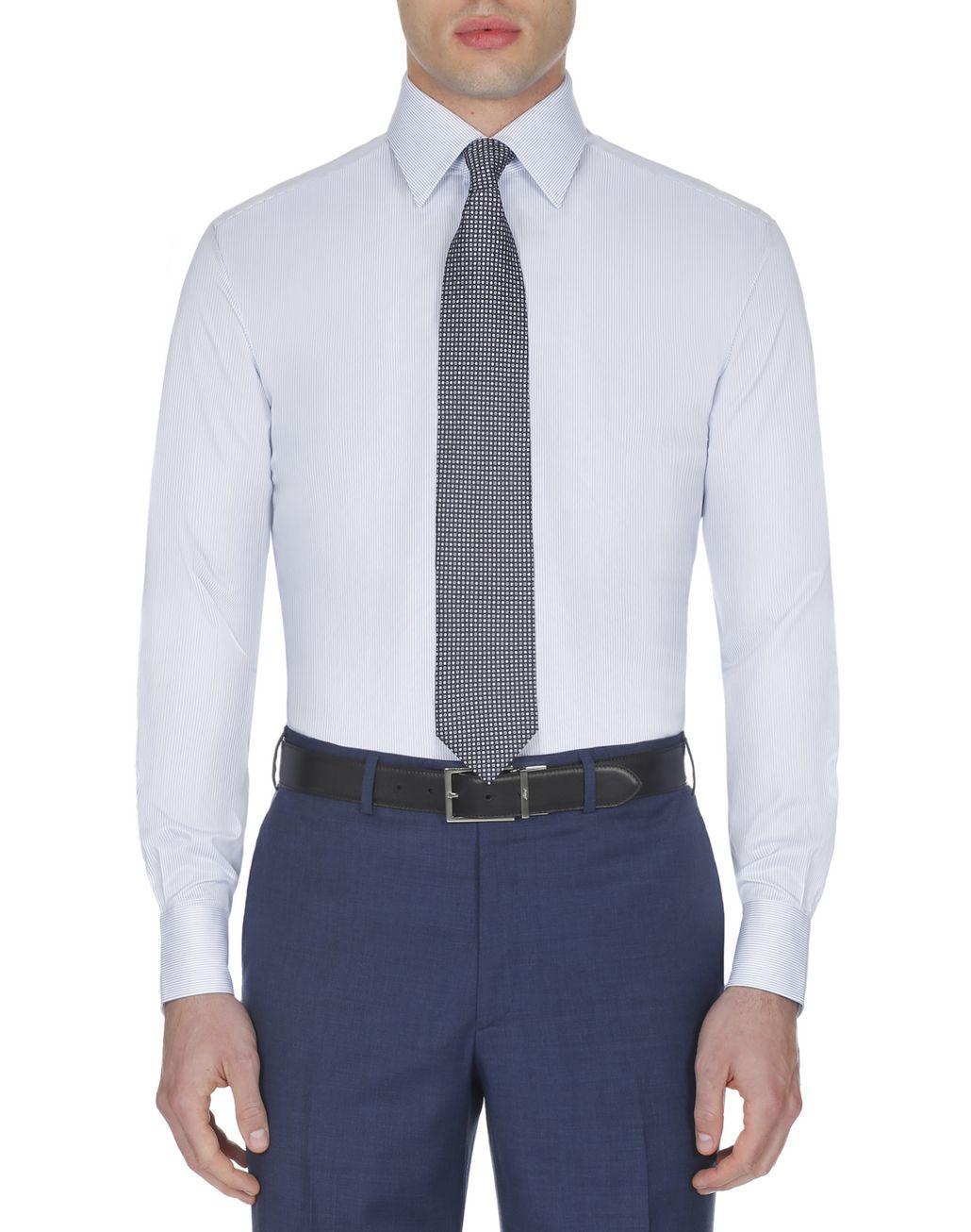 BRIONI Light Blue and White Striped Shirt Formal shirt Man r