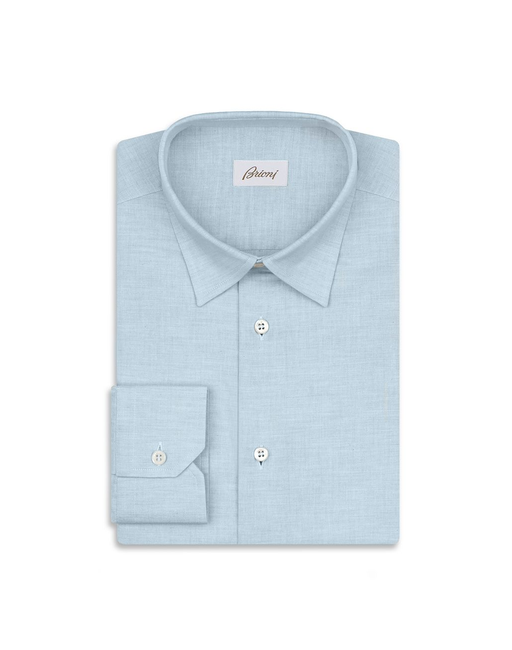 BRIONI Light Blue Cotton Shirt Leisure shirt Man f