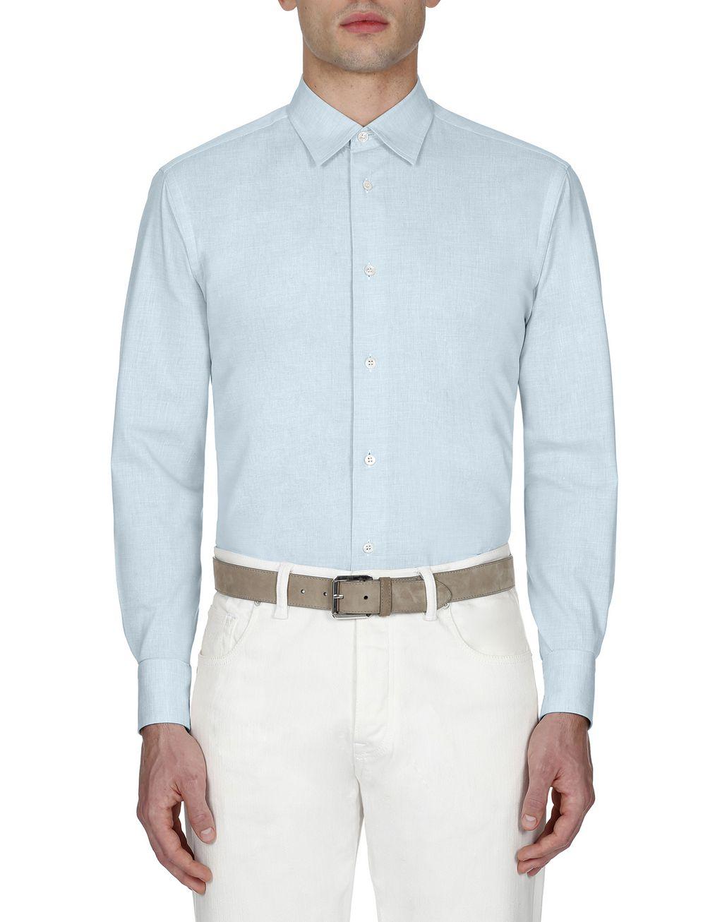 BRIONI Light Blue Cotton Shirt Leisure shirt Man r