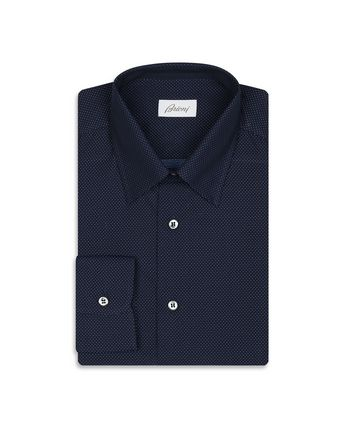 Navy Blue Micro Dotted Shirt