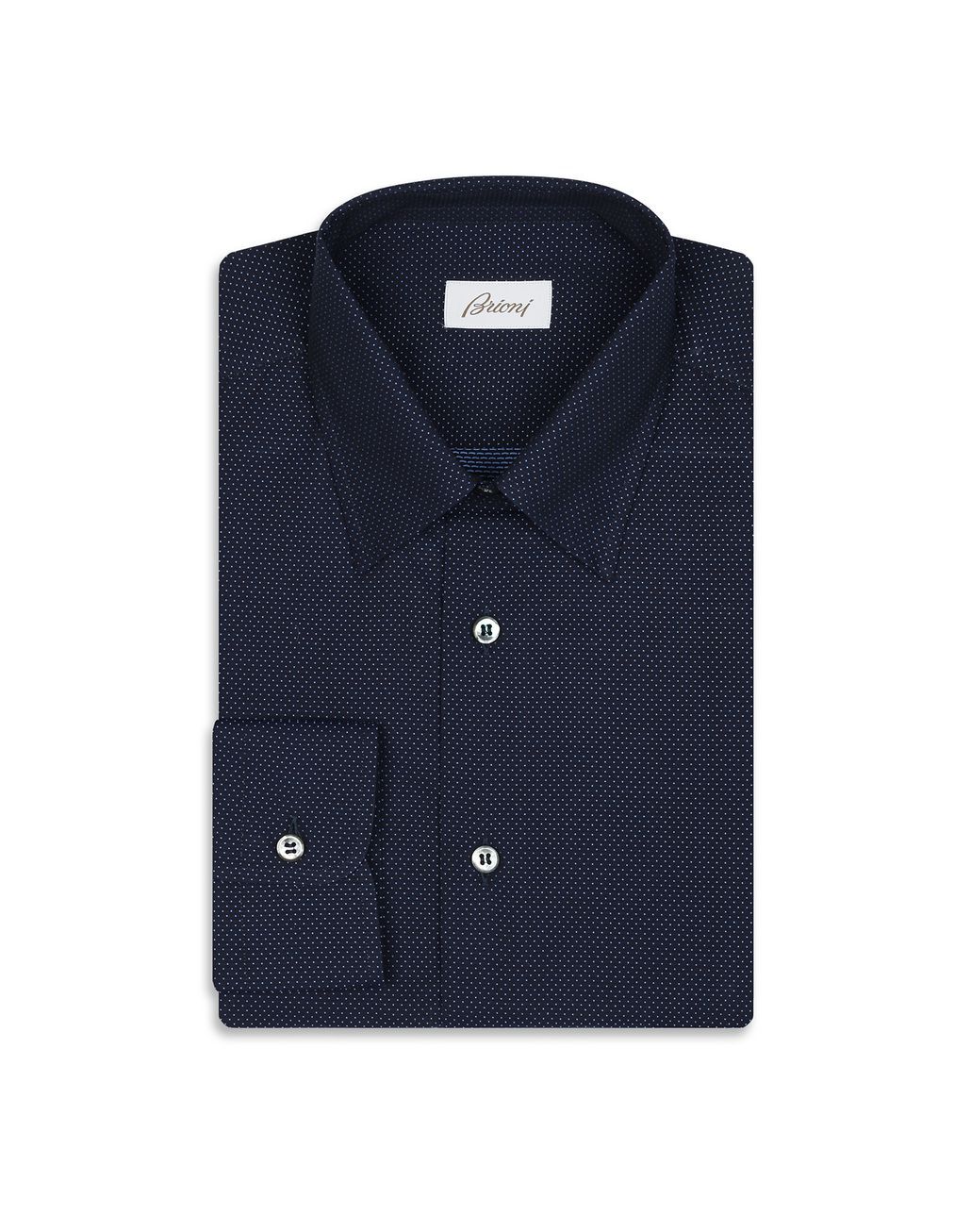 BRIONI Navy Blue Micro Dotted Shirt Leisure shirt Man f