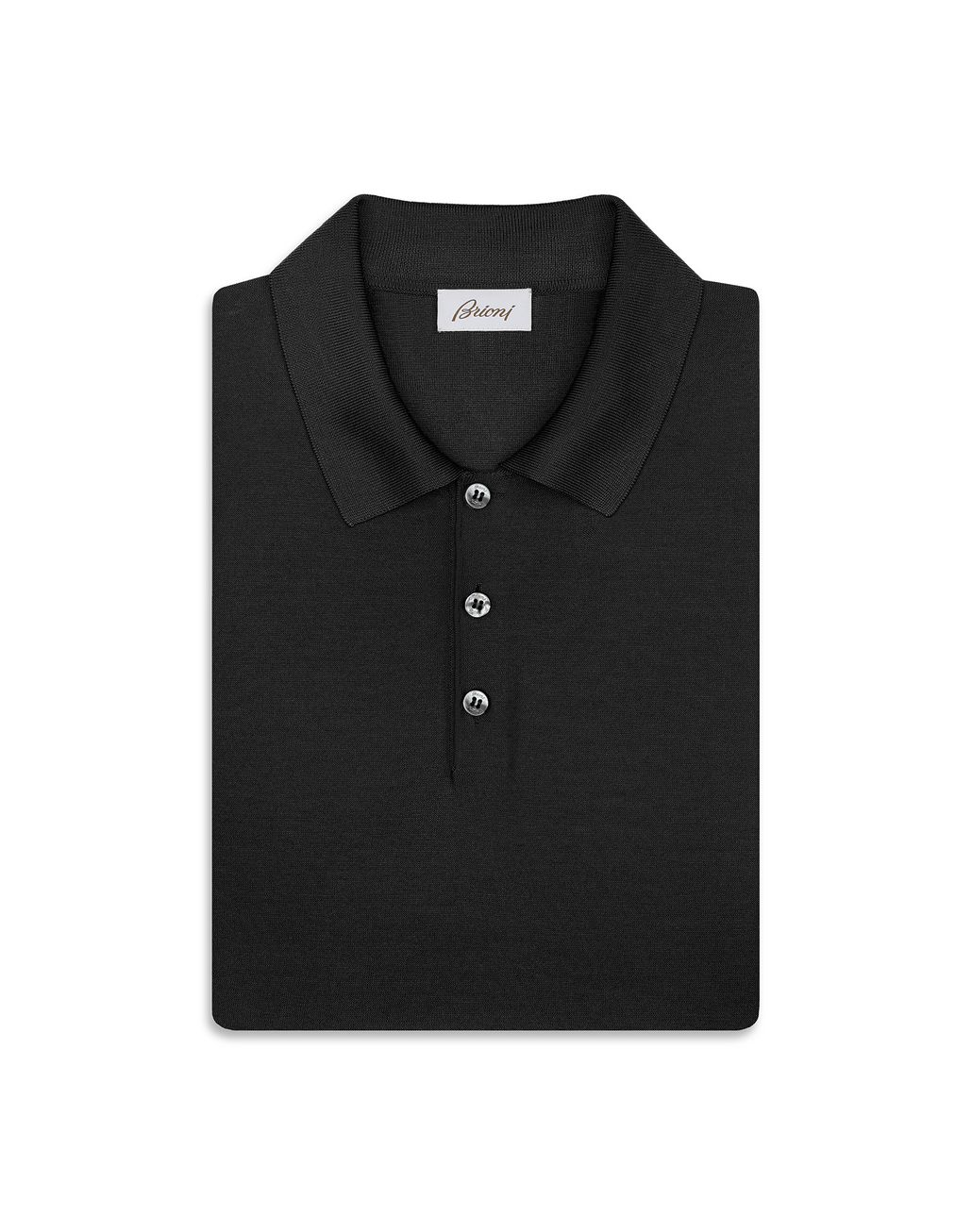 BRIONI Black Silk Polo Shirt T-Shirts & Polos [*** pickupInStoreShippingNotGuaranteed_info ***] e