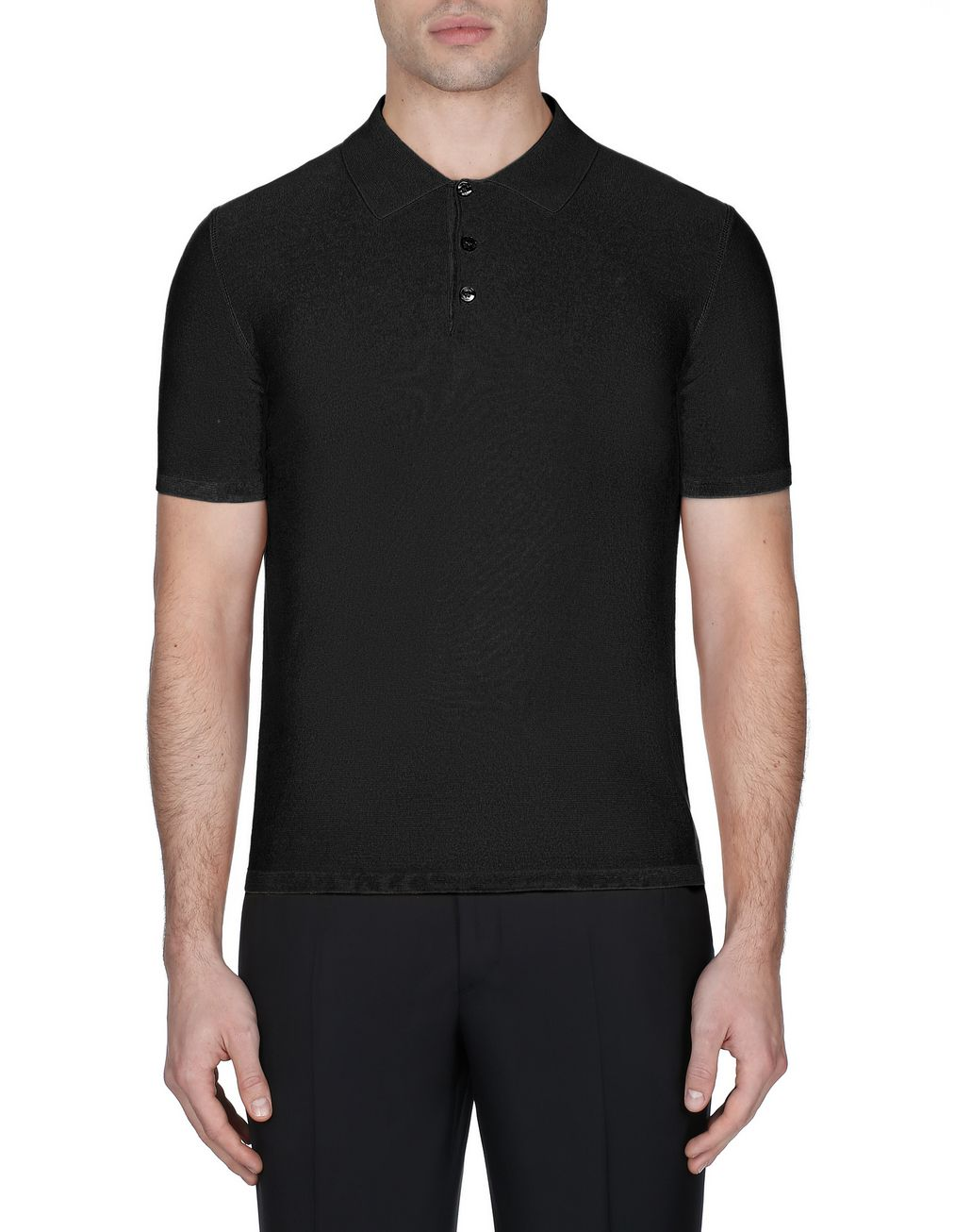 BRIONI Black Silk Polo Shirt T-Shirts & Polos [*** pickupInStoreShippingNotGuaranteed_info ***] r