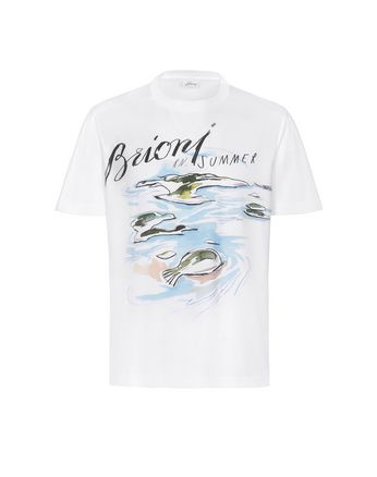 White Brioni Design T-Shirt