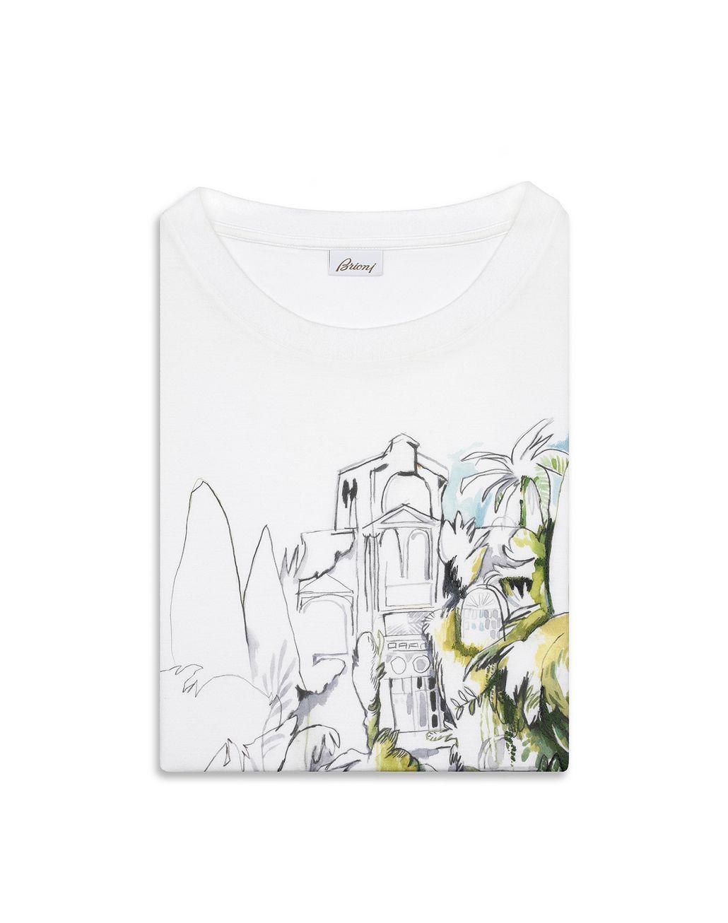 BRIONI White Printed T-Shirt T-Shirts & Polos [*** pickupInStoreShippingNotGuaranteed_info ***] e