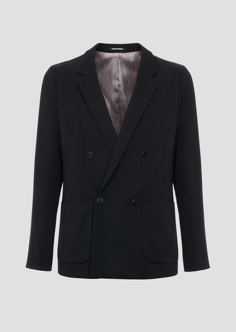 Lightweight wool gabardine suit with double-breasted jacket and pants with pleats