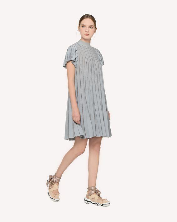 REDValentino A-jour stitched cotton lurex knit dress