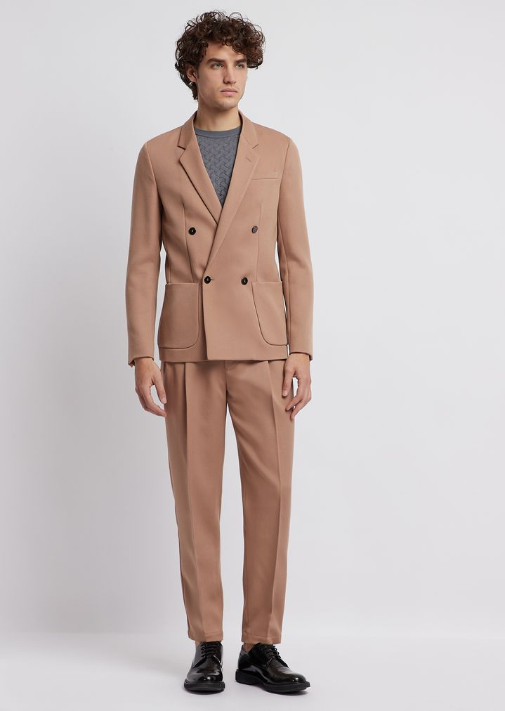 a4c22cff1 Lightweight wool gabardine suit with double-breasted jacket and trousers  with pleats