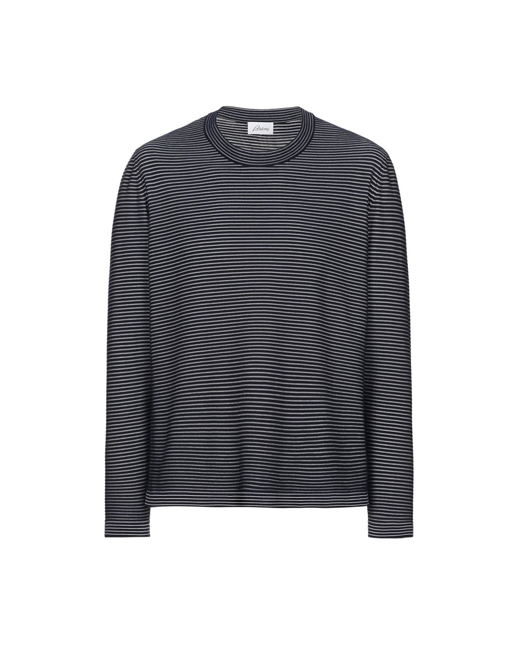 BRIONI Navy Blue and White Striped Knitwear Knitwear Man f