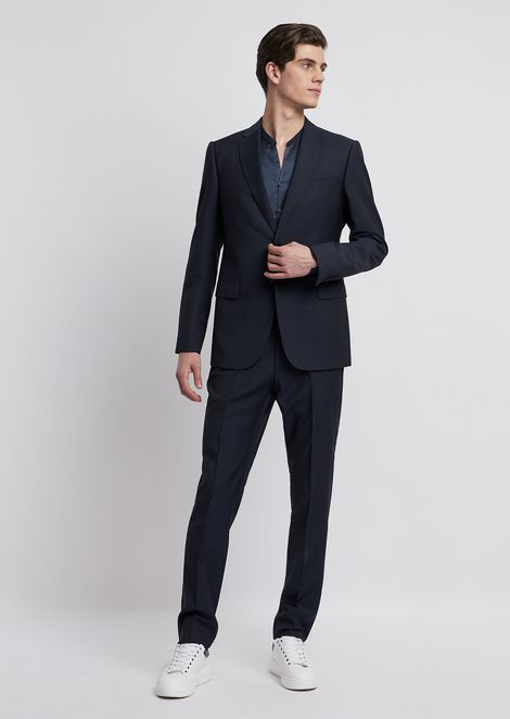 Modern-fit suit in cool wool with single-breasted blazer