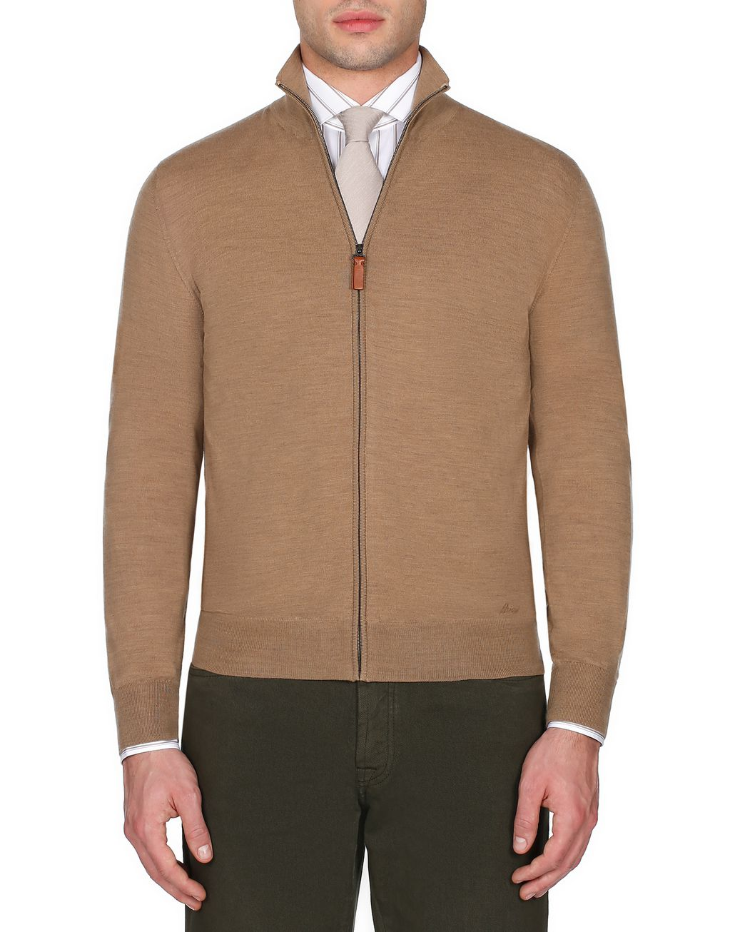 BRIONI Beige Zipped Jumper Knitwear [*** pickupInStoreShippingNotGuaranteed_info ***] r