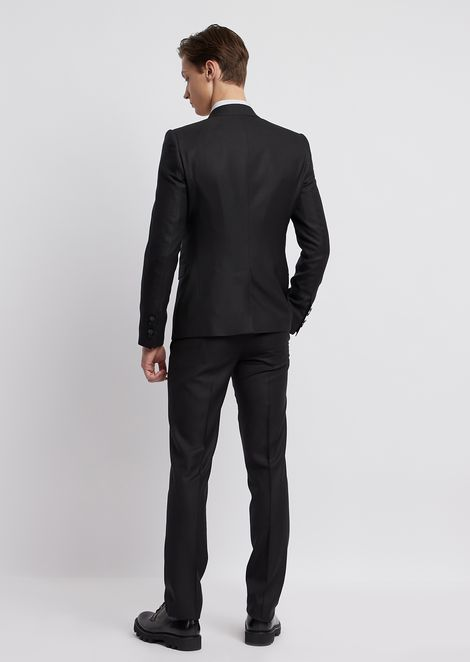 0aef379e28f9c Wool and textured silk suit with single-breasted blazer