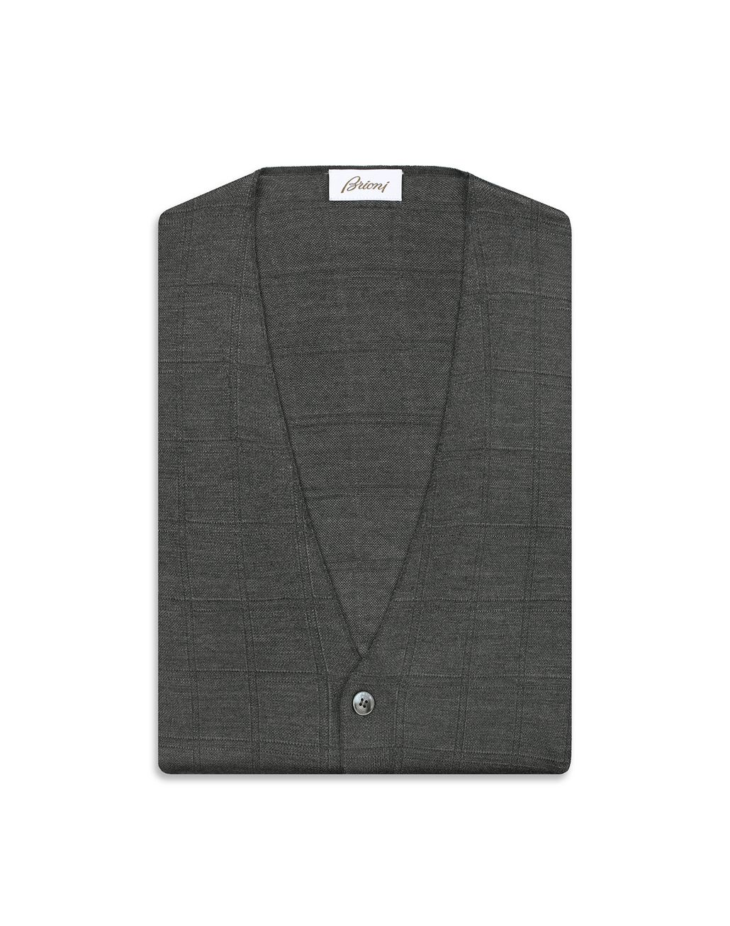 BRIONI Grey Window Check Cardigan Knitwear [*** pickupInStoreShippingNotGuaranteed_info ***] e