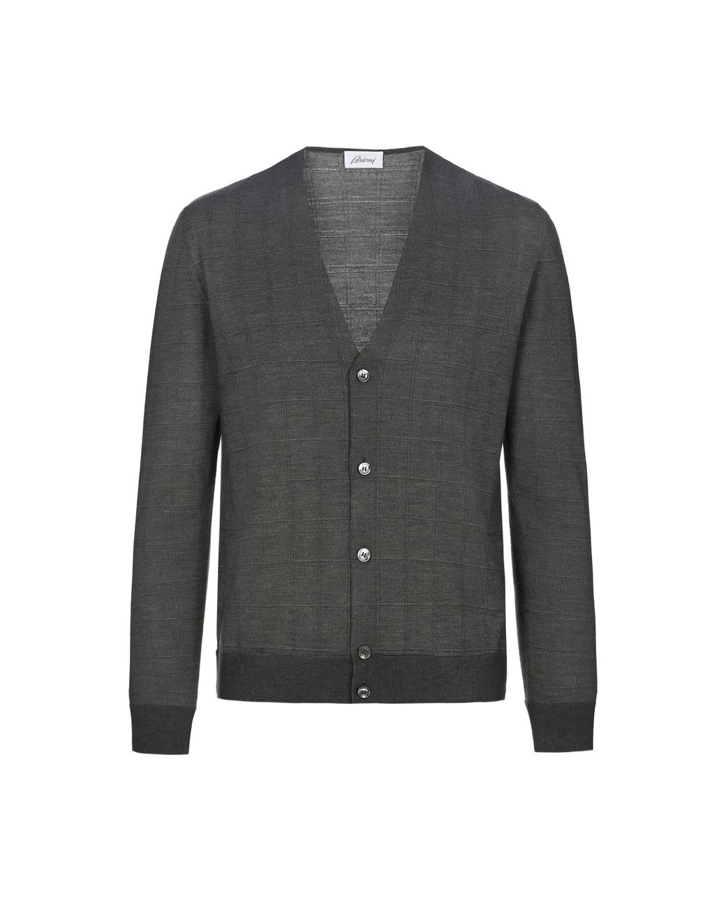 BRIONI Grey Window Check Cardigan Knitwear Man f