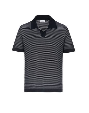 Navy Blue and White Buttonless Striped Polo Shirt
