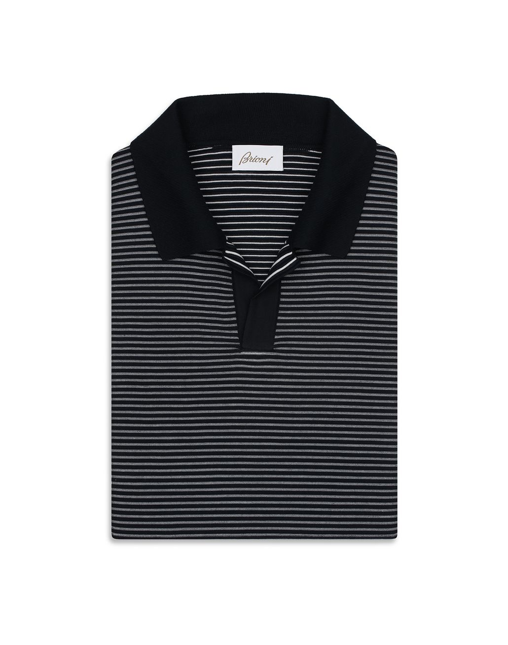 BRIONI Navy Blue and White Buttonless Striped Polo Shirt T-Shirts & Polos [*** pickupInStoreShippingNotGuaranteed_info ***] e