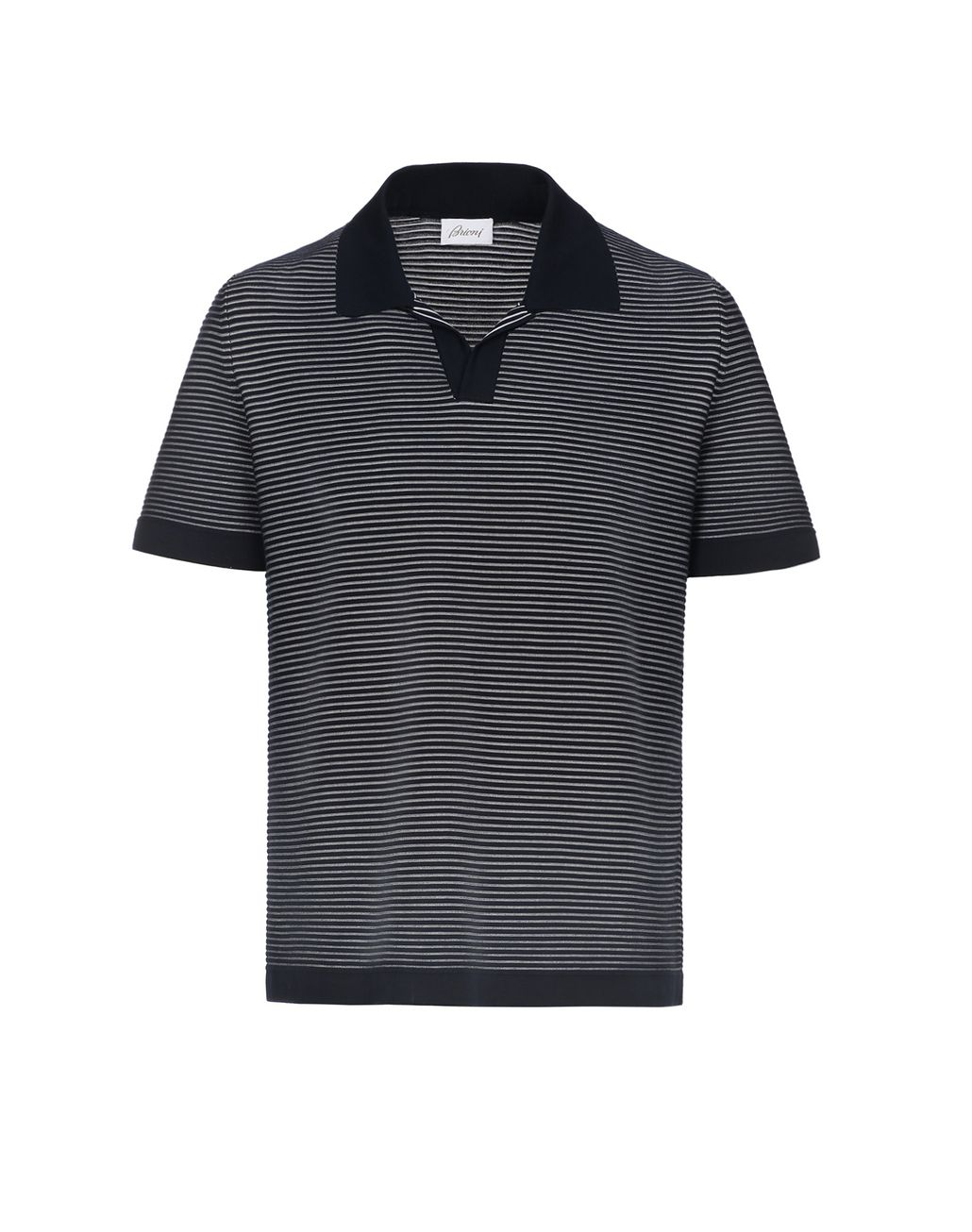 BRIONI Navy Blue and White Buttonless Striped Polo Shirt T-Shirts & Polos [*** pickupInStoreShippingNotGuaranteed_info ***] f