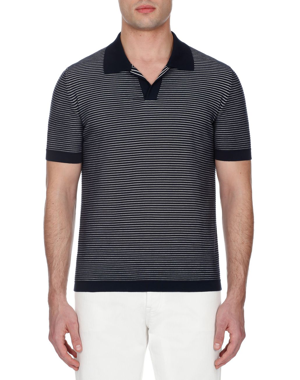 BRIONI Navy Blue and White Buttonless Striped Polo Shirt T-Shirts & Polos [*** pickupInStoreShippingNotGuaranteed_info ***] r