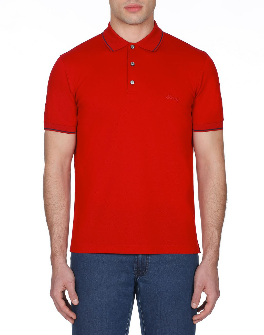 BRIONI Red Piquet Polo Shirt T-Shirts & Polos [*** pickupInStoreShippingNotGuaranteed_info ***] r