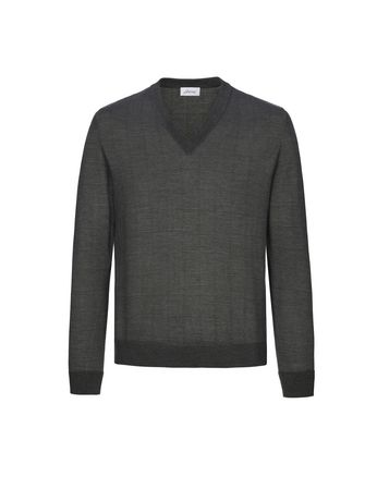 Grey Window Check V Neck Sweater