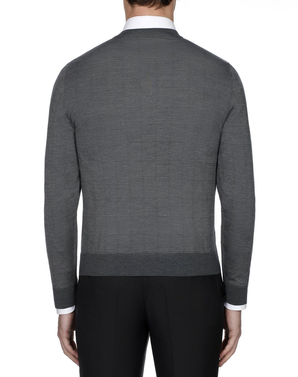 BRIONI Grey Window Check V Neck Sweater  Knitwear Man d