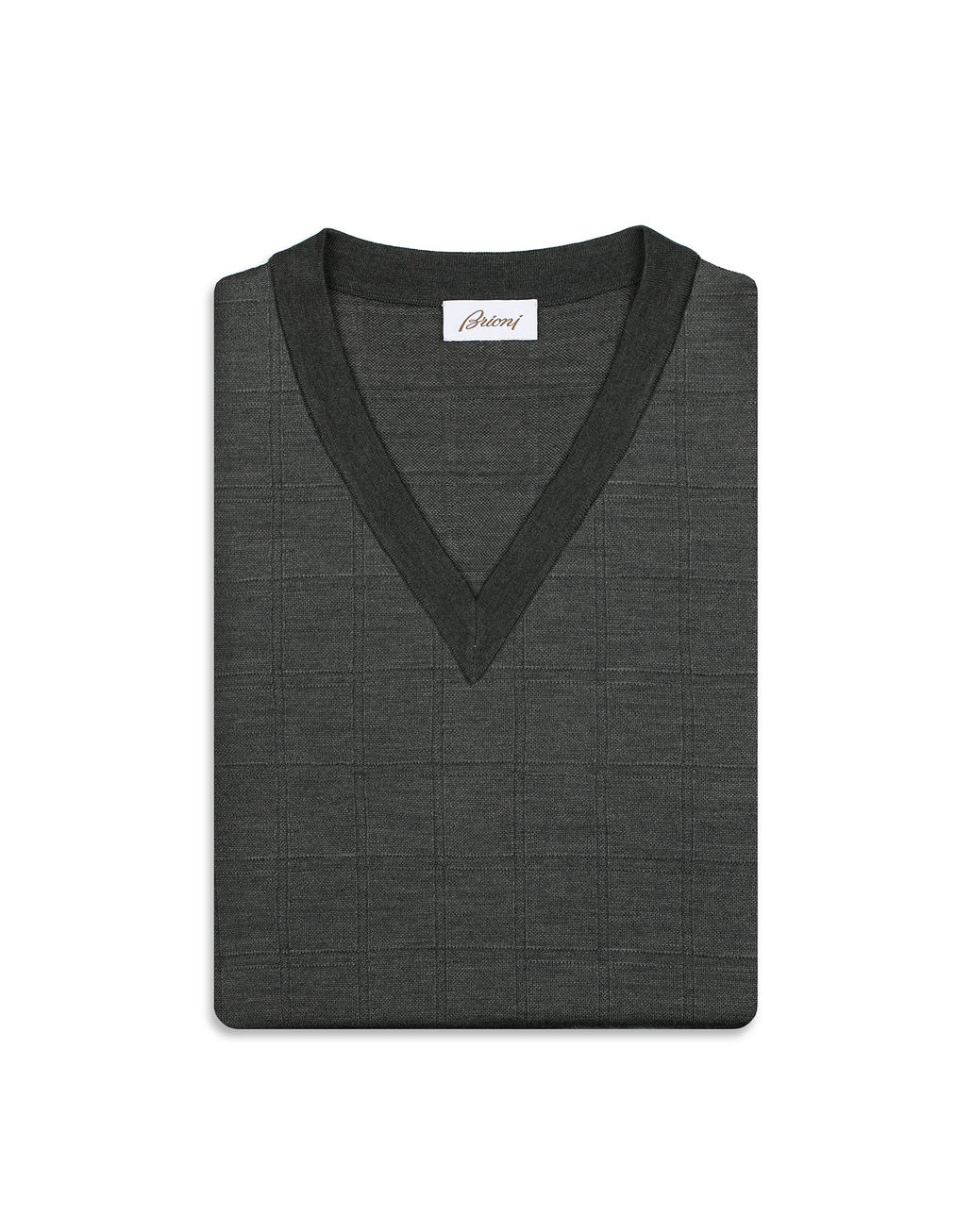 BRIONI Grey Window Check V Neck Sweater  Knitwear [*** pickupInStoreShippingNotGuaranteed_info ***] e