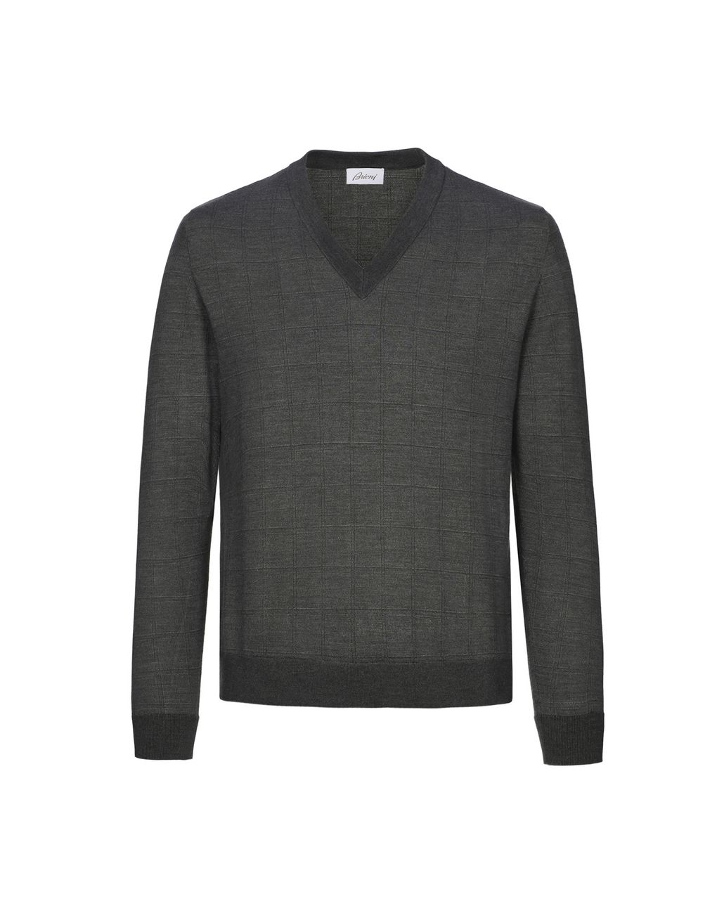 BRIONI Grey Window Check V Neck Sweater  Knitwear Man f