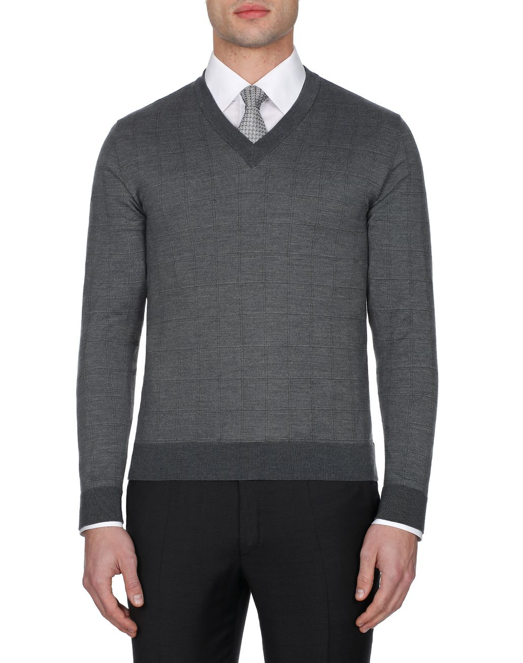 BRIONI Grey Window Check V Neck Sweater  Knitwear [*** pickupInStoreShippingNotGuaranteed_info ***] r