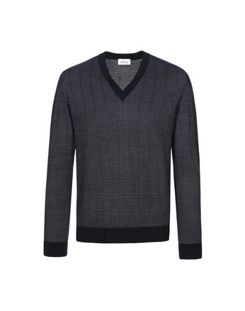 Navy Blue Window Check Crew Neck Sweater