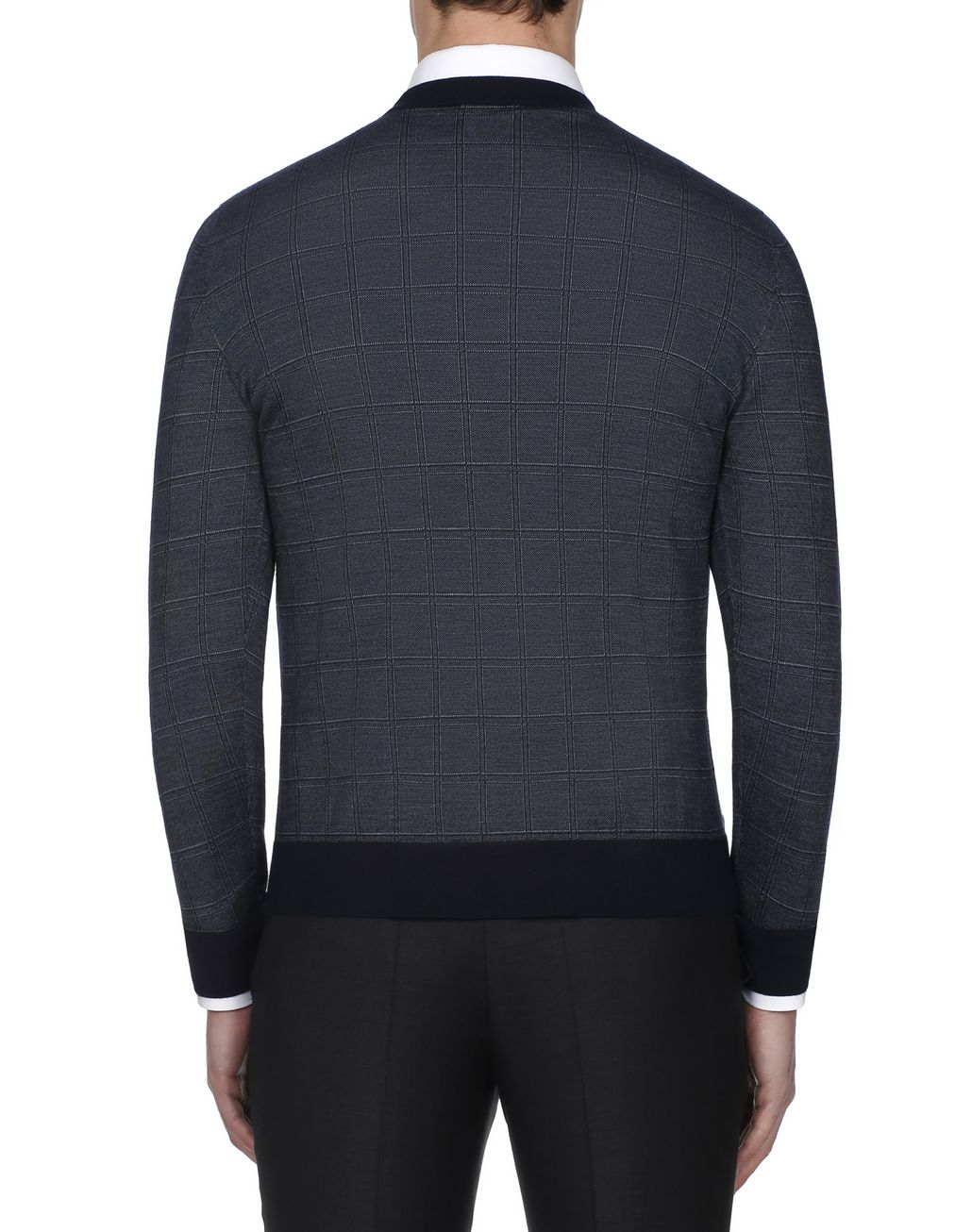 BRIONI Navy Blue Window Check Crew Neck Sweater Knitwear [*** pickupInStoreShippingNotGuaranteed_info ***] d