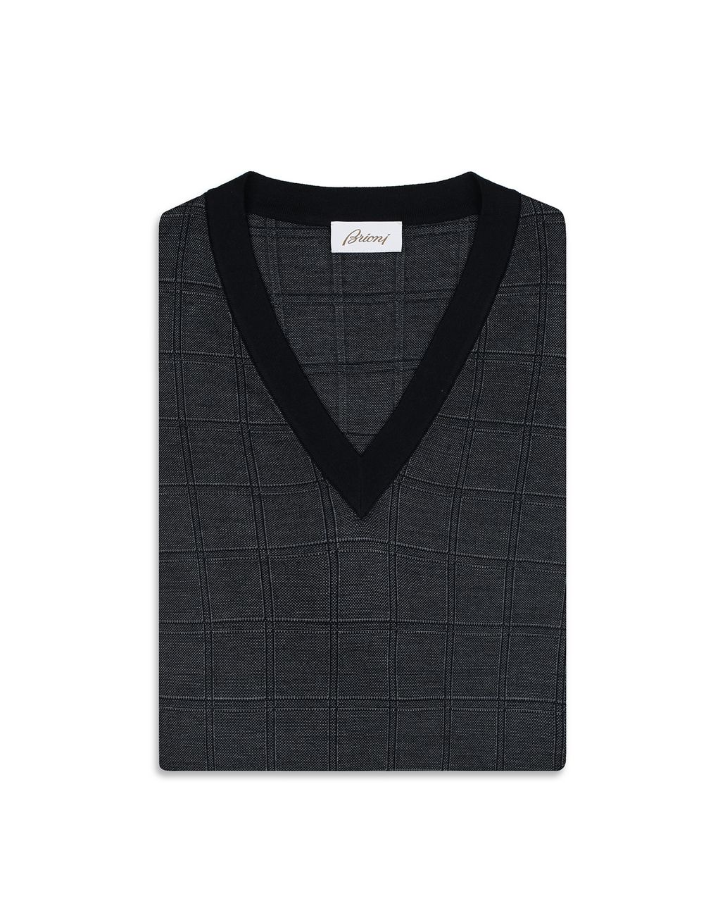 BRIONI Navy Blue Window Check Crew Neck Sweater Knitwear [*** pickupInStoreShippingNotGuaranteed_info ***] e