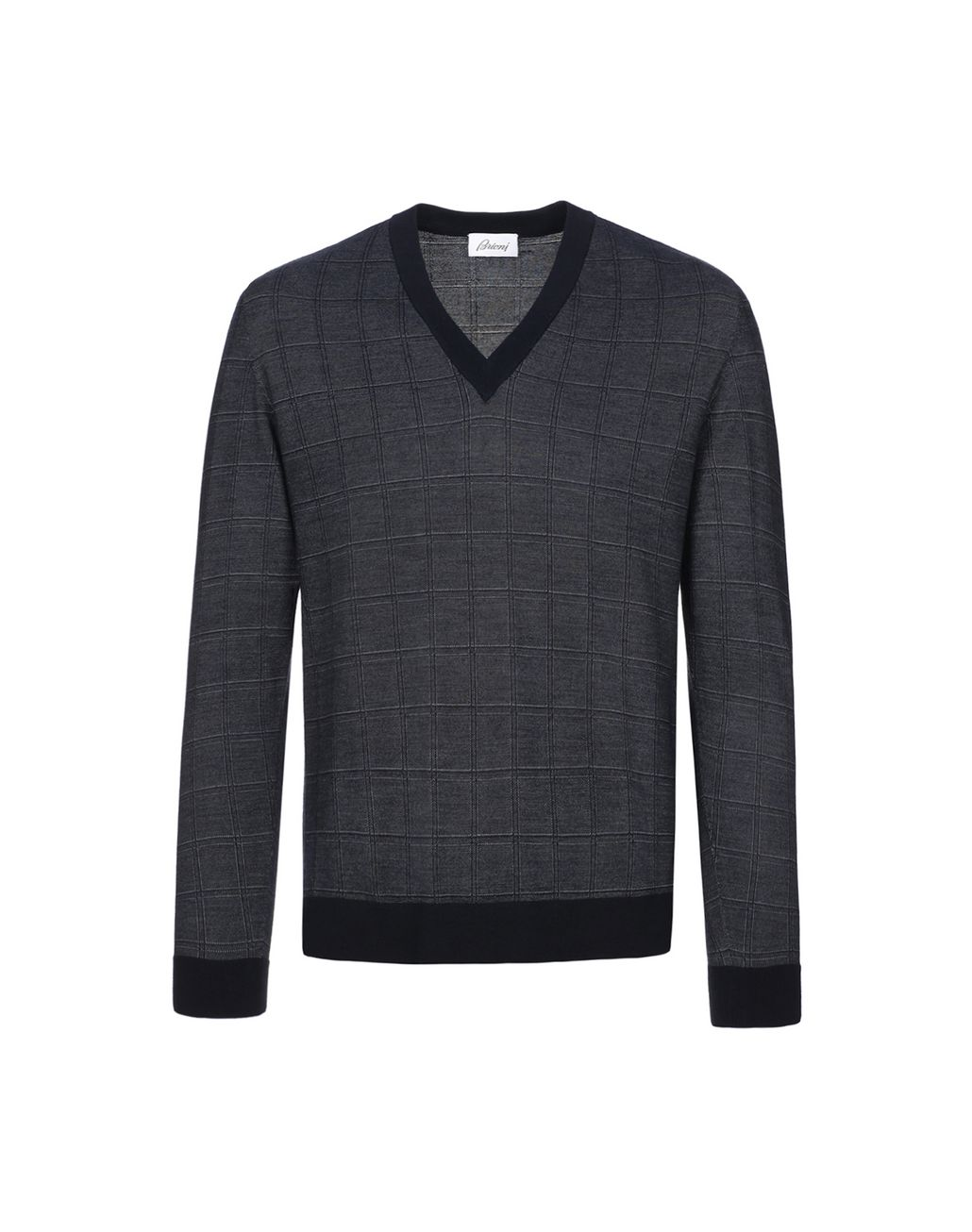 BRIONI Navy Blue Window Check Crew Neck Sweater Knitwear Man f