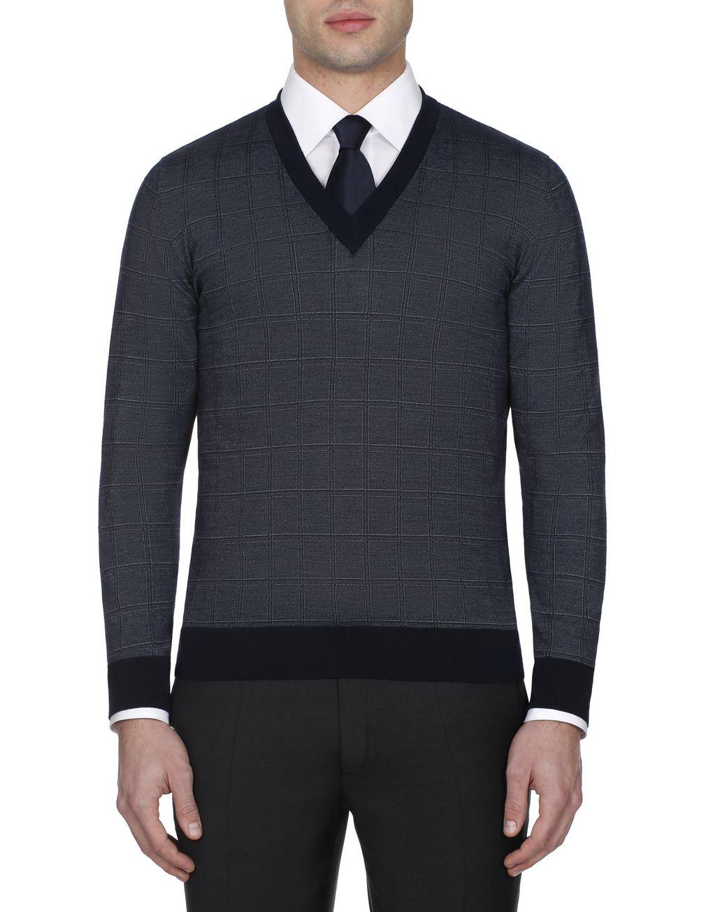 BRIONI Navy Blue Window Check Crew Neck Sweater Knitwear [*** pickupInStoreShippingNotGuaranteed_info ***] r