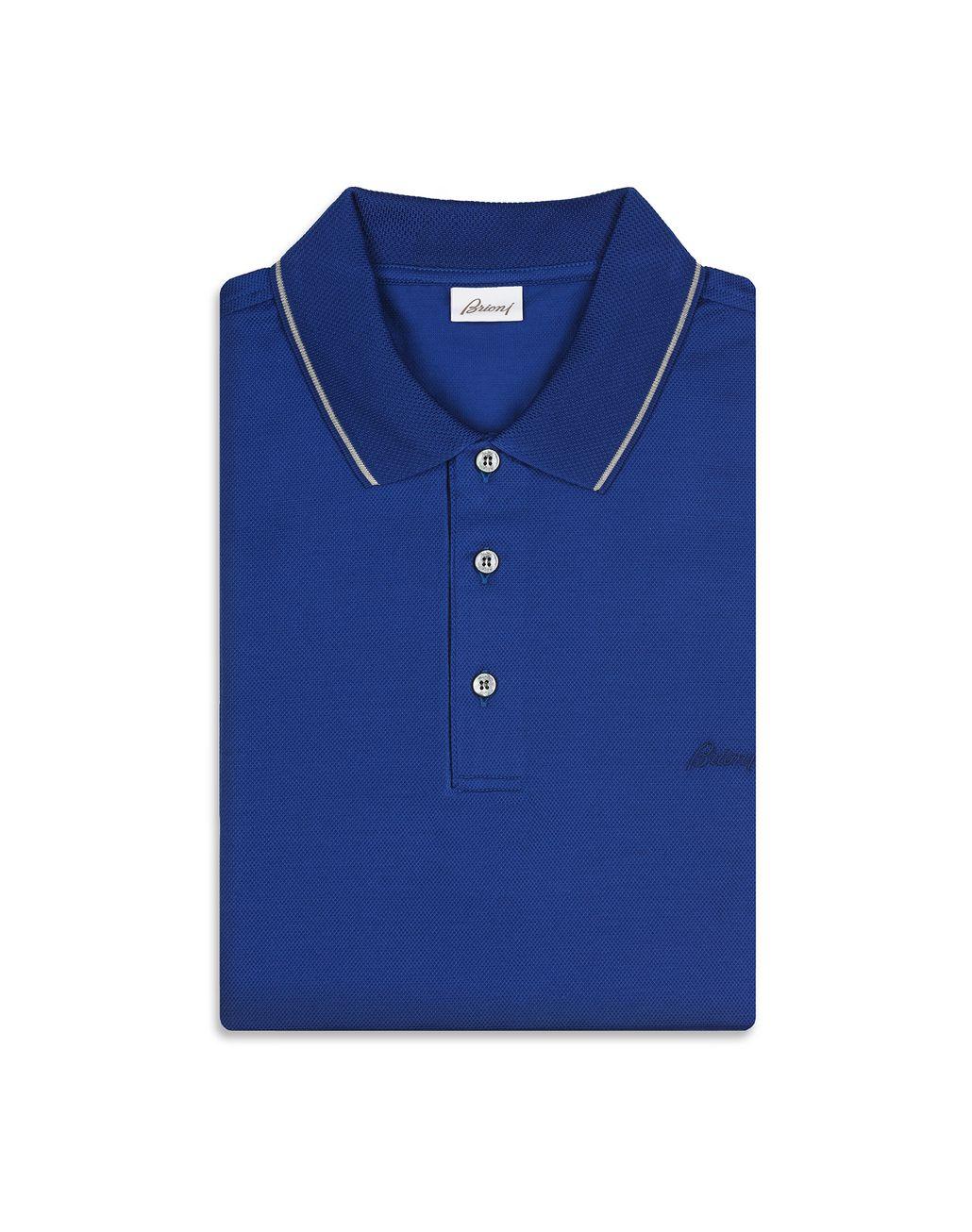 BRIONI Blue Piquet Polo Shirt T-Shirts & Polos Man e