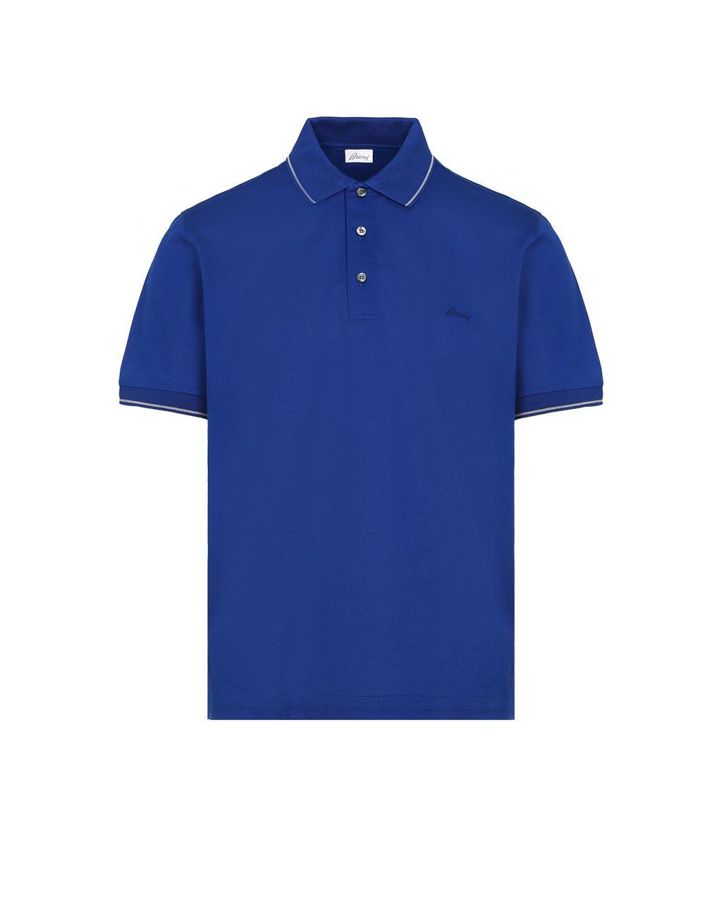 BRIONI Blue Piquet Polo Shirt T-Shirts & Polos Man f