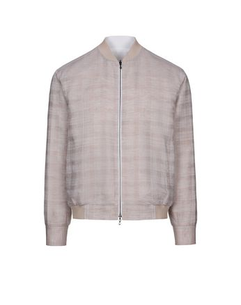 Beige and White Reversible Blouson Shirt
