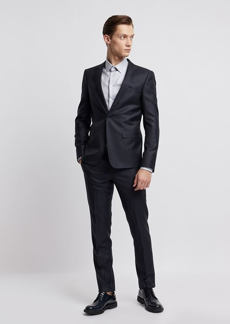 c9890a9b4c13 Suit in a blend of light wool and silk with single-breasted blazer
