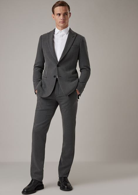 Soho range slim-fit half-canvassed suit in technical crêpe cavalry twill