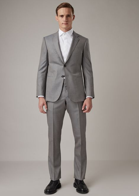 Regular-fit fully-canvassed Wall Street line suit in grisaille