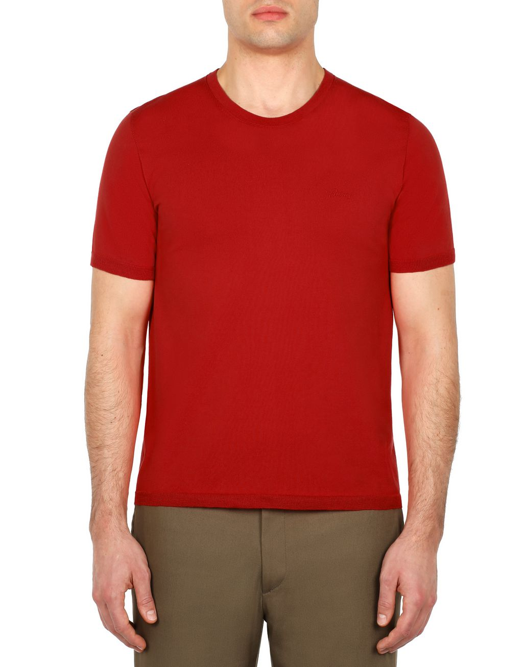 BRIONI Red Logoed T-Shirt T-Shirts & Polos Man r