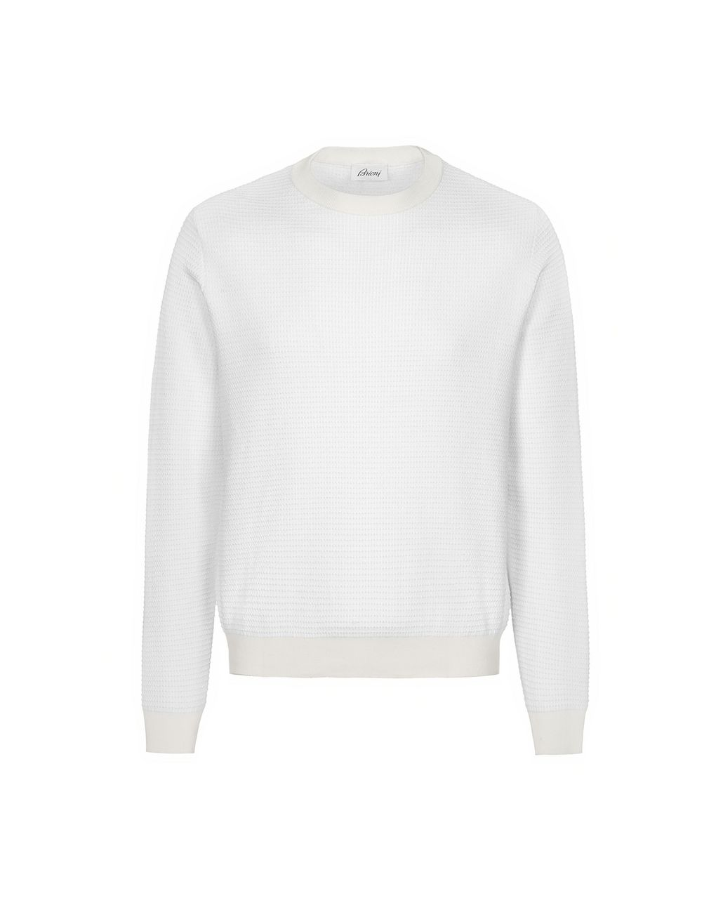 BRIONI White Crew Neck Sweater Knitwear Man f
