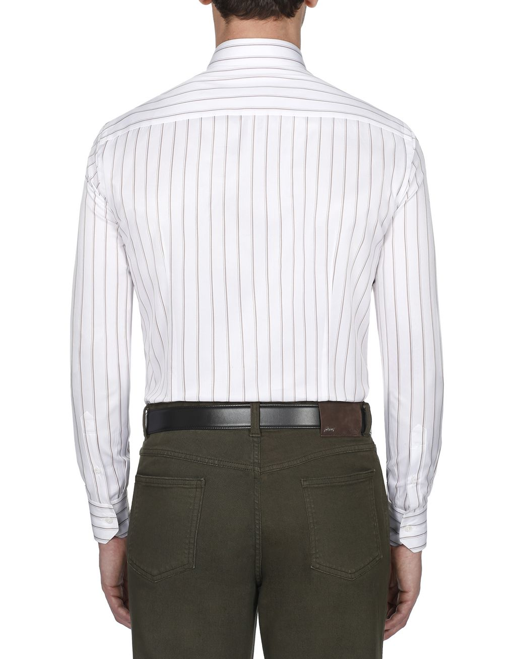 BRIONI White and Brown Striped Shirt Formal shirt Man d