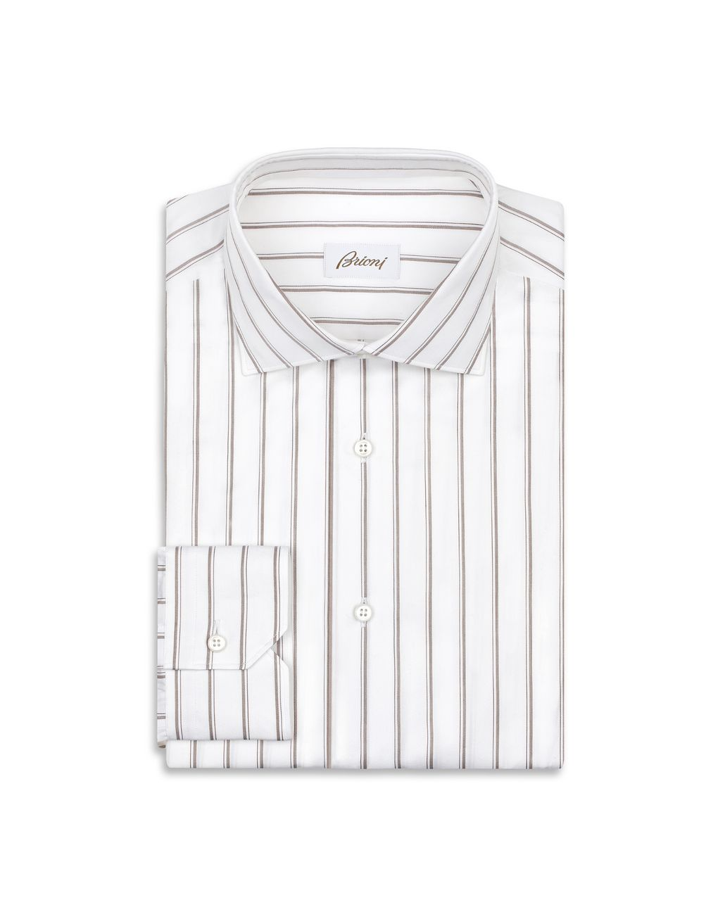 BRIONI White and Brown Striped Shirt Formal shirt Man f