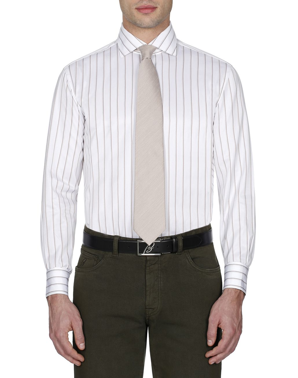 BRIONI White and Brown Striped Shirt Formal shirt [*** pickupInStoreShippingNotGuaranteed_info ***] r
